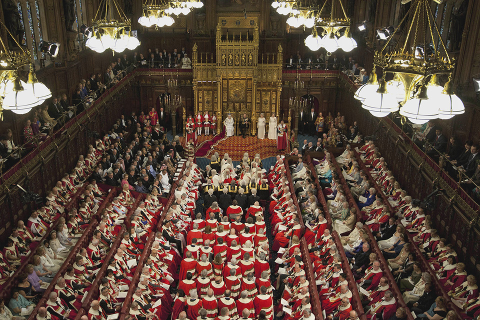 House of Lords aerial shot, State Opening of Parliament