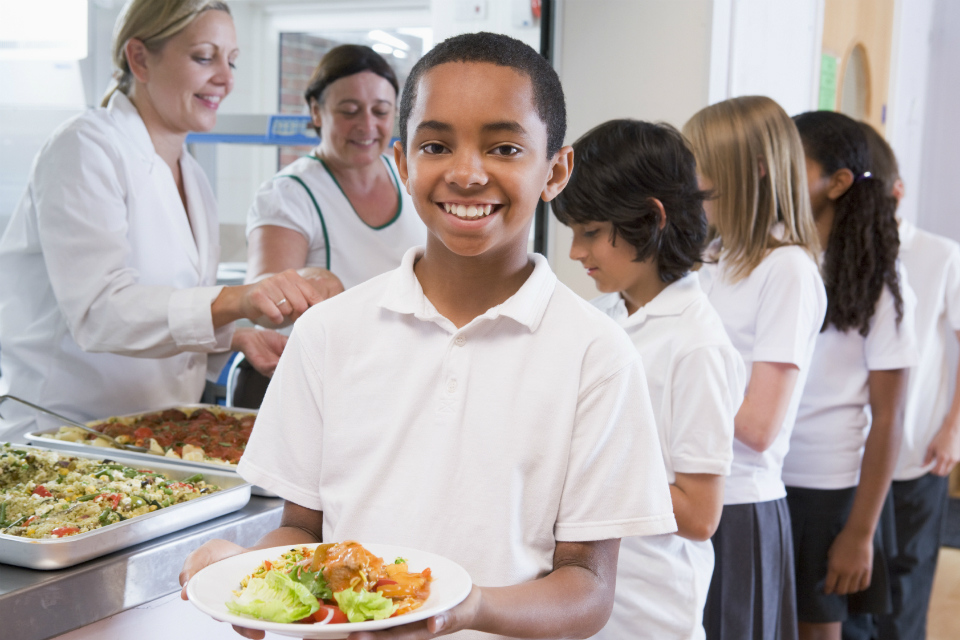 pupil with school food in canteen