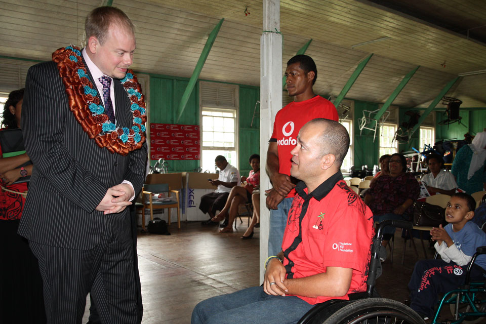 Acting High Commissioner Daniel Salter with Joshko Wakaniyasi of the Spinal Injuries Association