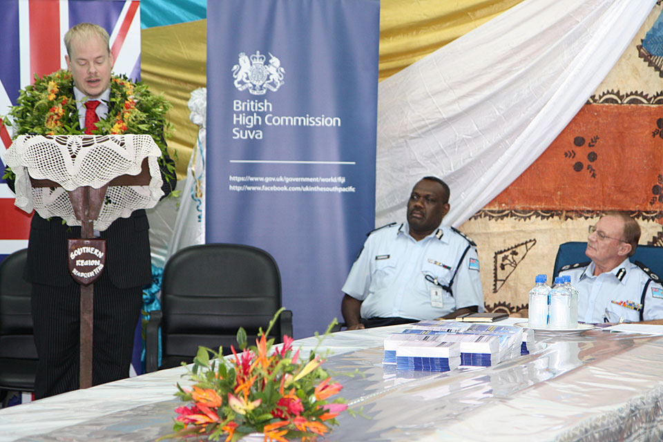 Acting High Commissioner Daniel Salter at the launch of the election security manual for the Fiji Police Force