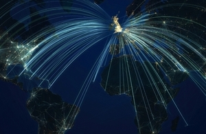 Map showing flight paths from UK to the world