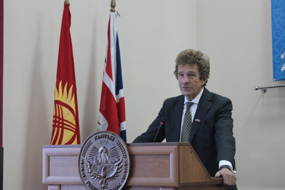 Lord Faulks delivers his speech at the Law Academy in Bishkek.