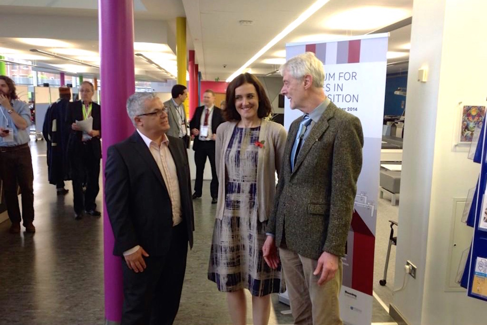 Theresa Villiers with Tim Attwood and Padraig O'Mally