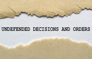 Text of defended decisions and orders written on ripped paper - used on licensed from ingram image