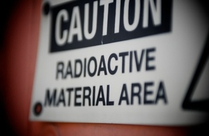 Sign reading: 'radioactive material area'