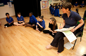 Students and teacher in a dance class