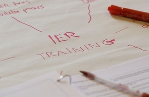 flipchart showing planning for 'IER'.