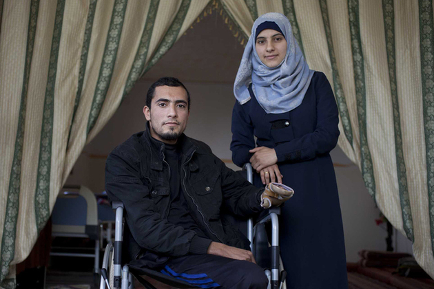 Abdullah and his fiancee in Gaza. Abdullah was severely injured in the 2014 Gaza conflict. Picture: Abbie Trayler-Smith/Panos