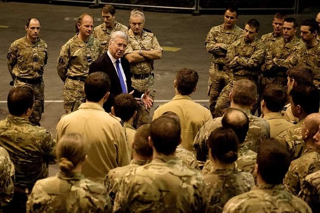 Michael Fallon thanks UK military personnel during a trip to RAF Akrotiri [Picture: Corporal Lee Goddard RAF, Crown copyright]