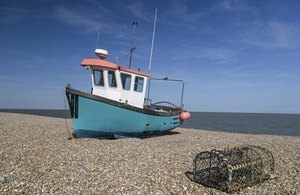 A fishing vessel on the beach
