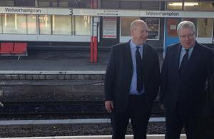 Patrick McLoughlin at Wolverhampton station