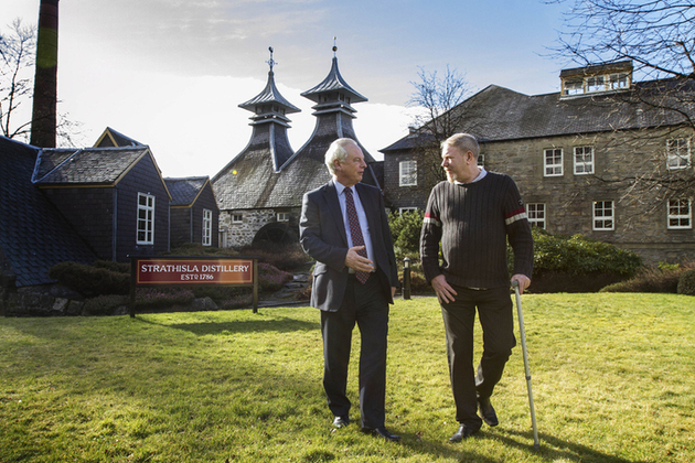 Francis Maude at Strathisla distillery with Bruce Gunn of Delivered Personally Next Day.
