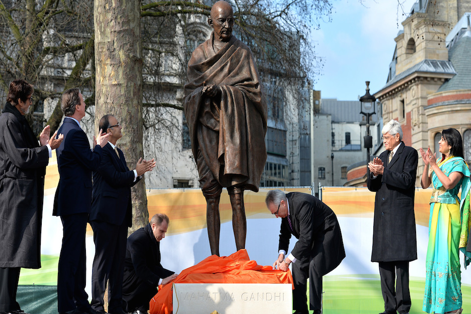 The unveiling of the Gandhi statue