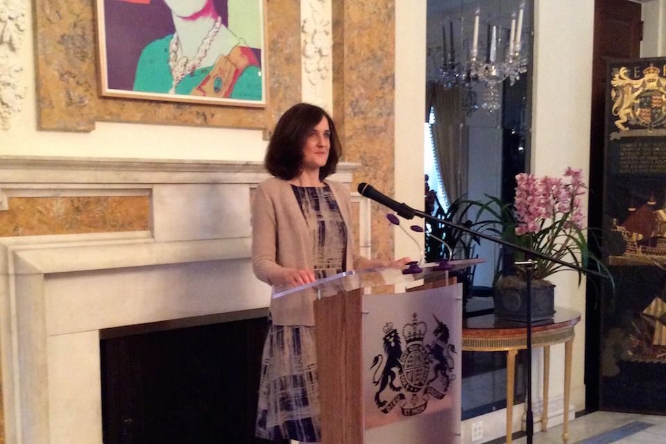 SofS speaking at the Ambassador's Residence