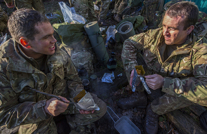 Royal Marine Reservist trainees enjoying early morning breakfast