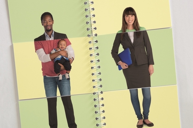 Flipbook of images showing a man and a woman in both workwear and casual wear, with the man carrying his son.