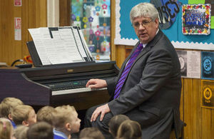 teacher playing music