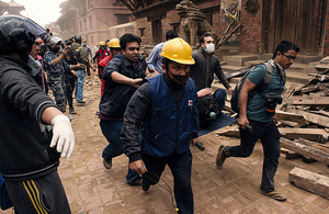 Rescue teams working after the Nepal earthquake.