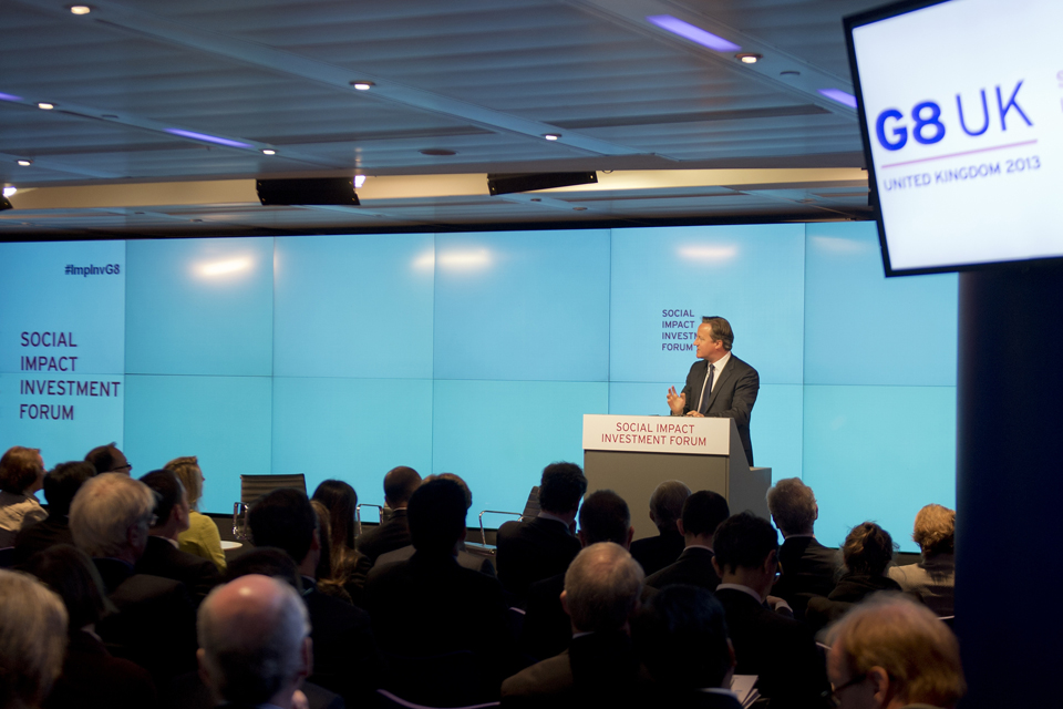 The PM spoke at a G8 Social Investment conference