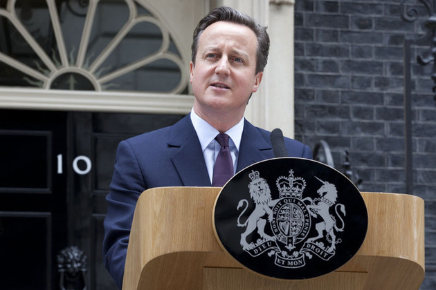 Prime Minister David Cameron speaking outside Number 10 Downing Street on 8 May 2015