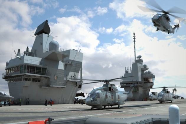 Computer-generated image of flight deck operations on the aircraft carrier HMS Queen Elizabeth