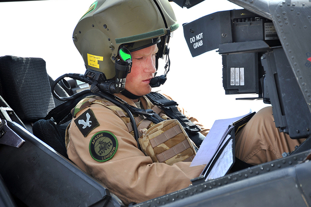 Prince Harry flying an Apache helicopter