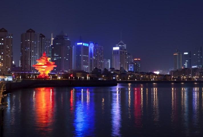 Wusi Square and May Wind Sculpture at night, Shandong Province, Qingdao, China