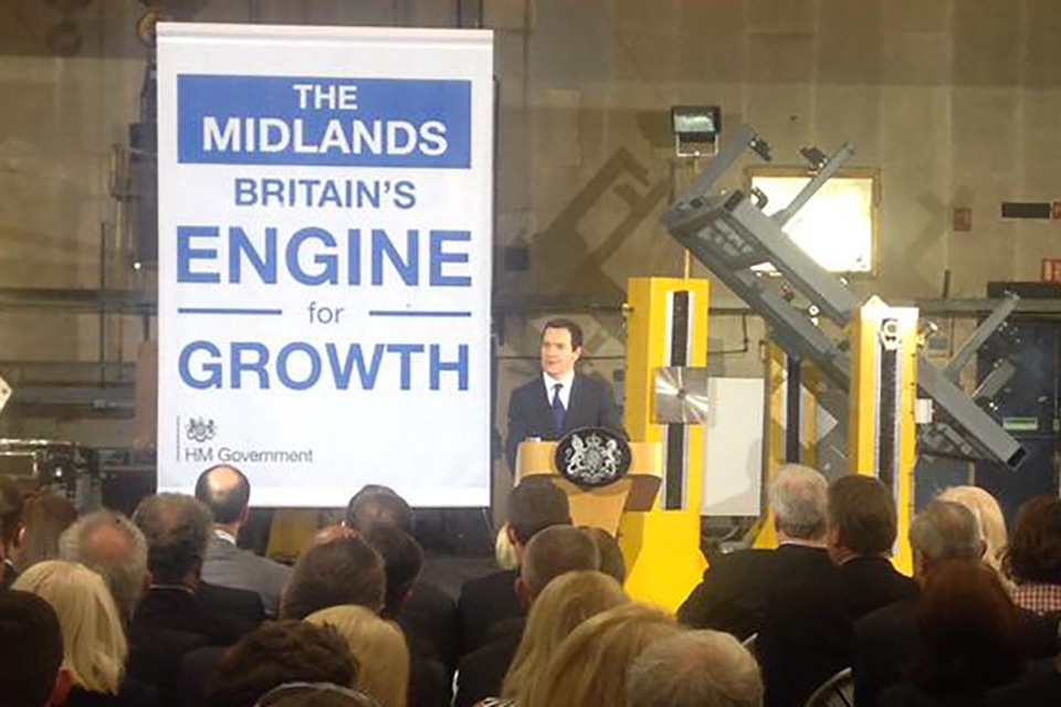 Chancellor, George Osborne giving a speech in Derby.