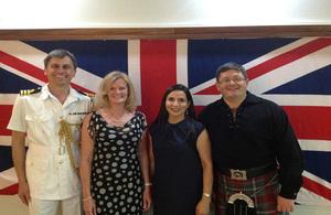 High Commissioner Roerick Drummond, Mrs Drummond, Defence Adviser Commander Brett Burlingham and Mrs Burlingham