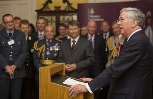 Defence Secretary Michael Fallon addresses Reservists, employers, family and friends at a reception at Admiralty House