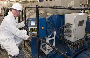 Philip Dunne starts diesel generator on HMS Queen Elizabeth