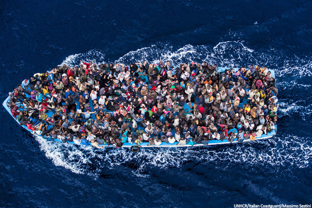 A boat carrying migrants in the Mediterranean. Picture: UNHCR/Italian Coastguard