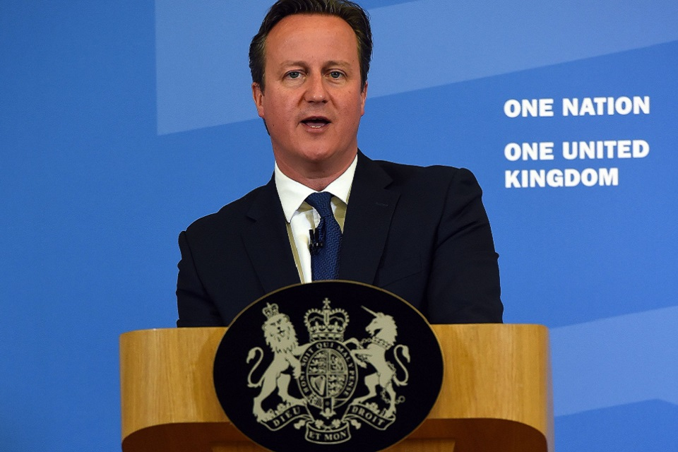 Prime Minister delivering extremism speech. Credit: Paul Ellis / PA Wire/Press Association Images