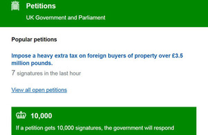 Petitions website screen.