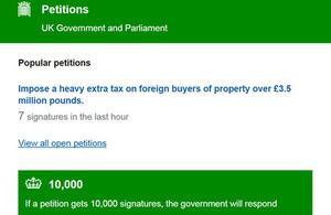 Petitions website screen.