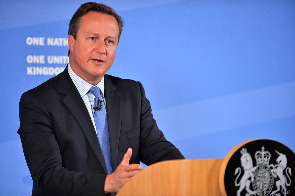Prime Minister David Cameron delivering speech on public services