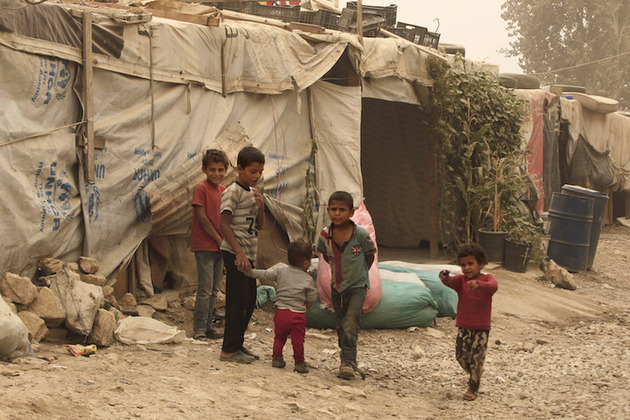 Syrian children in a refugee camp