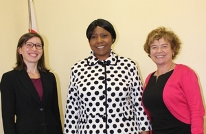 Ms Danae Dholakia accompanied by Ambassador Catriona Laing meet Minister Oppah Muchinguri-Kashiri