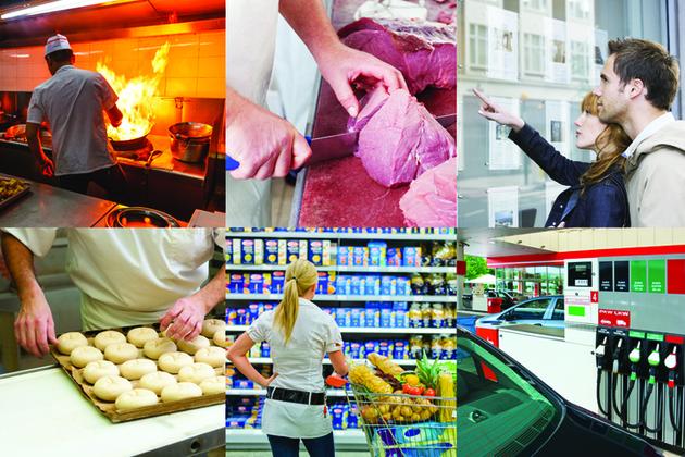 Montage of photographs showing a restaurant kitchen, butcher, estate agent, baker, supermarket and petrol station.