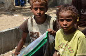 Children receiving hygiene kits in Hodeida, Yemen. Picture: Muhammad Awadh/ Save the Children