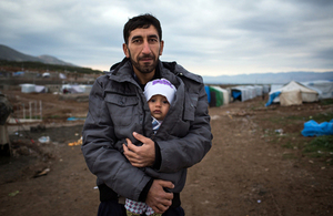 A Syrian man displaced from his home by ISIL, pictured in a refugee camp in northern Iraq. Picture: Andrew McConnell/Panos for DFID.