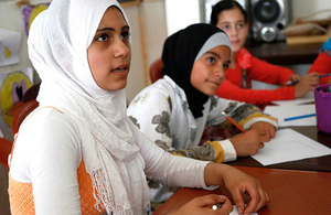 Syrian refugee girls at school in Lebanon