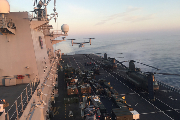 Osprey approaches on Exercise Trident Juncture