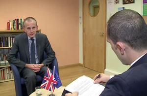 Mr. Graham Styles visits Tirana. Image: Top Channel