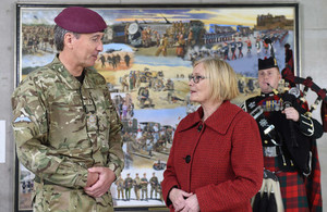 Lt Gen James Bashall CBE, Commander Personnel and Support Command unveiled the painting with the Scottish Parliament's Presiding Officer, the Rt Hon Tricia Marwick MSP.