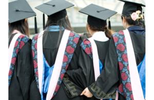 Female students graduating