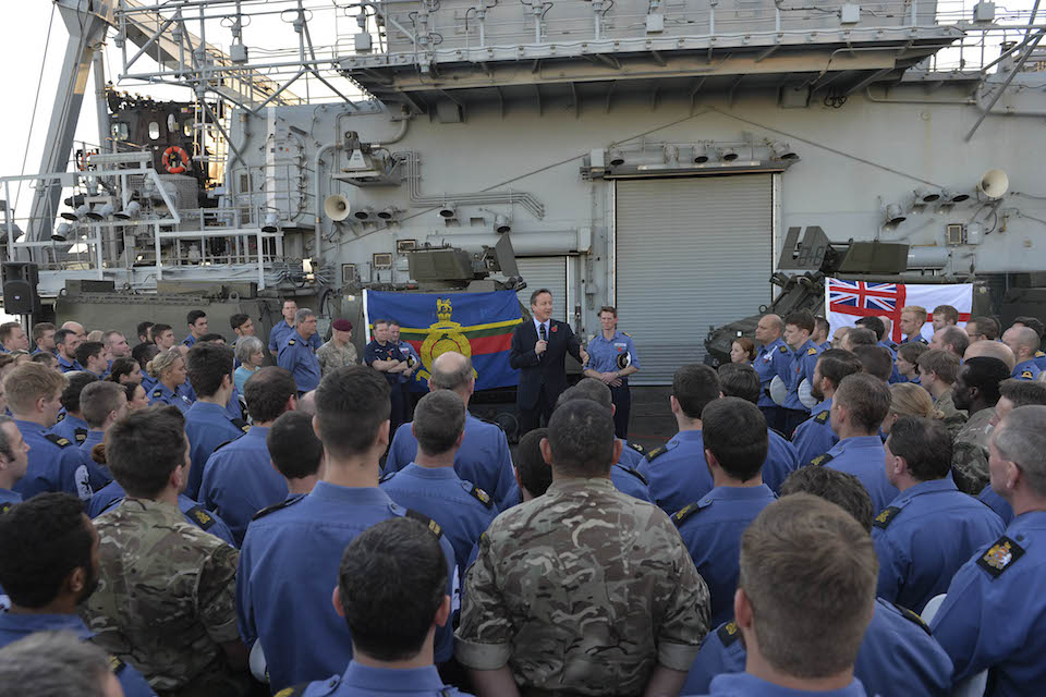 PM addresses crew on HMS Bulwark