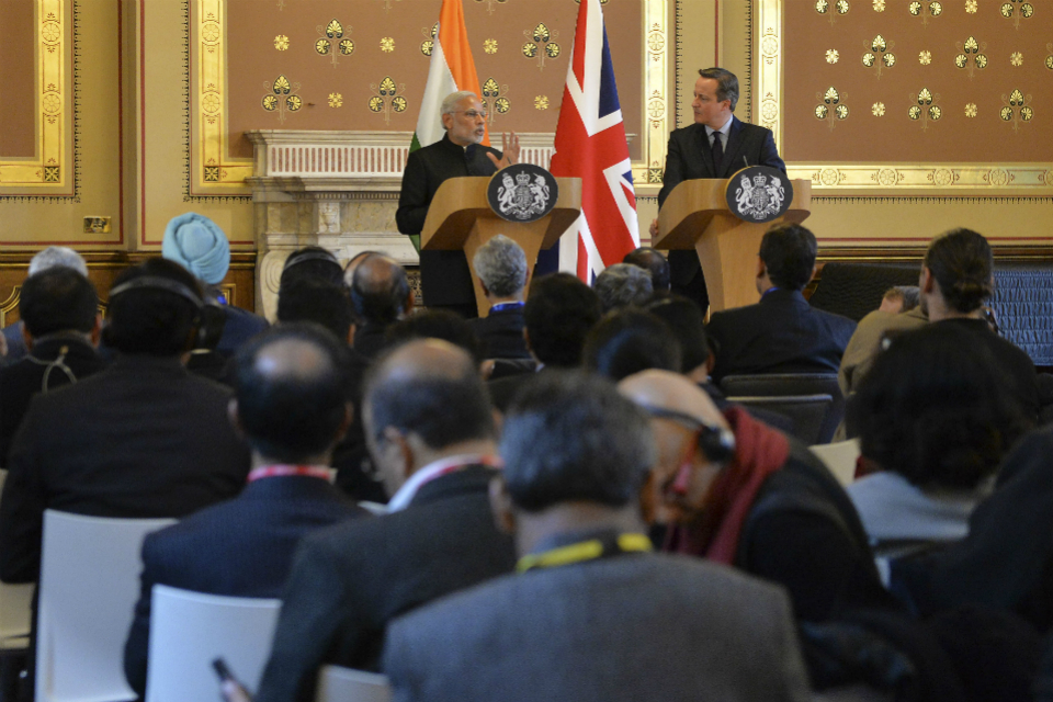 UK PM David Cameron and Indian PM Narendra Modi hold joint press conference