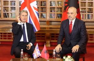 Foreign Secretary Philip Hammond visit to Tirana