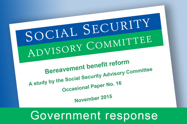 Government response: SSAC report on bereavement benefit reform